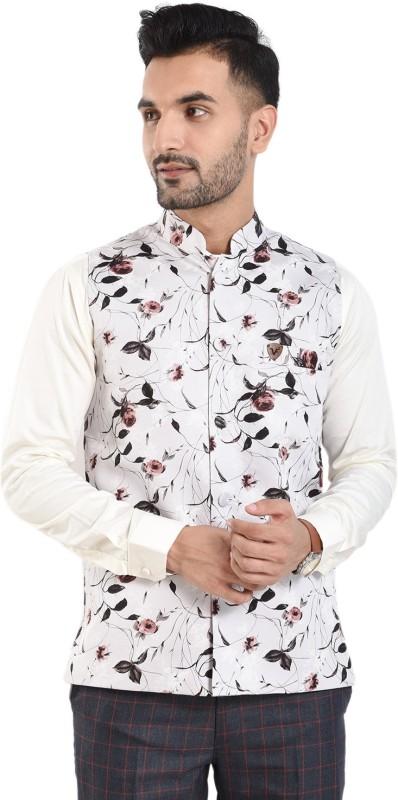 vandnam fabrics Sleeveless Floral Print Mens Jacket