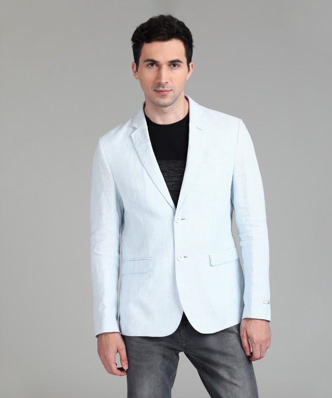 Blackberrys Solid Single Breasted Casual Men Blazer(White)