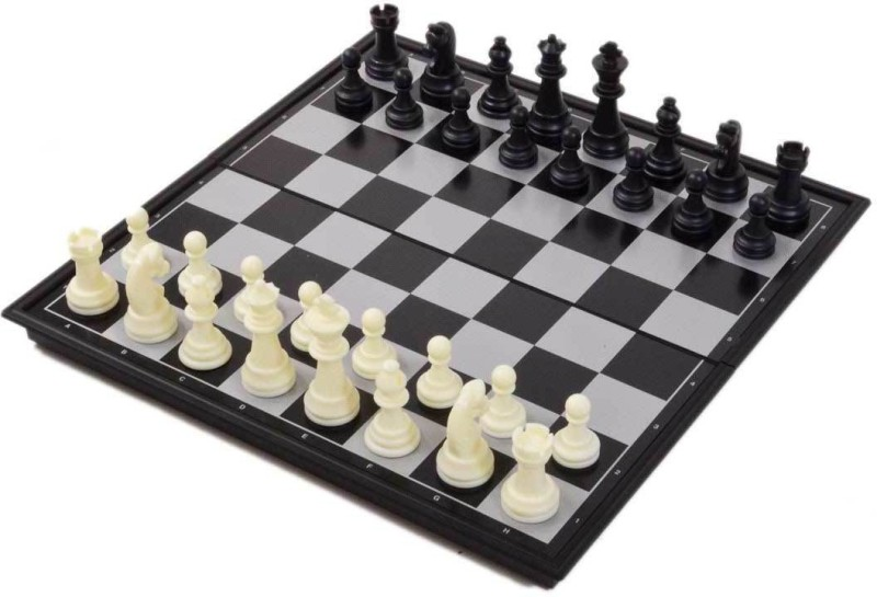 oms magnetic chess board with two sets of pawns (black and white) 14 inch Chess Board(Black)