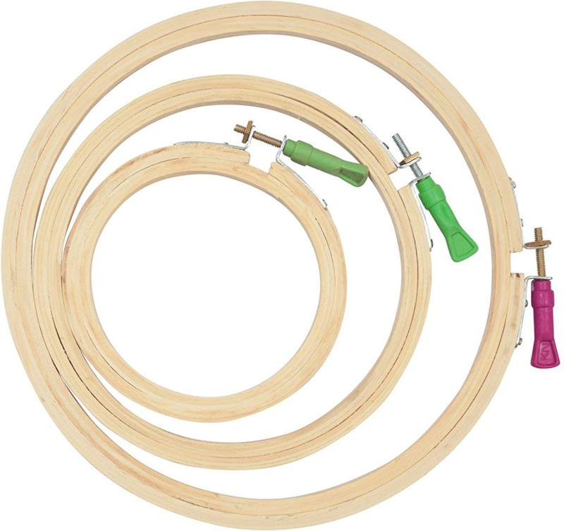 AsianHobbyCrafts Wooden Embroidery Hoop Ring Frame (3 Pieces) Embroidery Frame(Pack of 3)