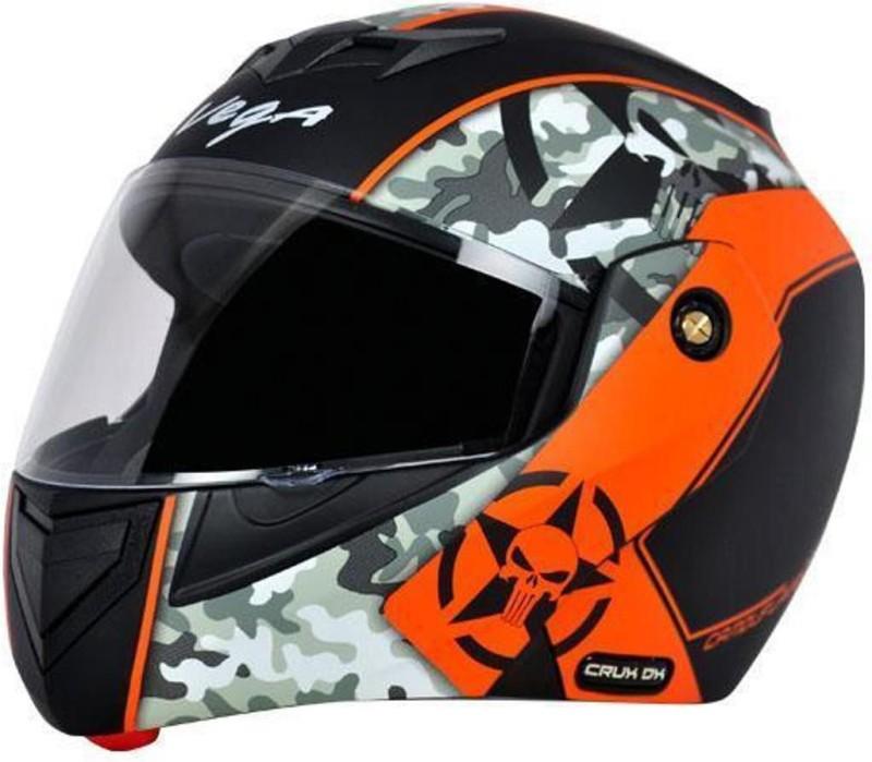 VEGA CAMFOULAGE CRUX DX ORANGE Motorbike Helmet(CRUX DX ORANGE)
