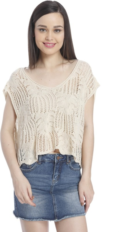 Only Casual Cape Sleeve Lace Women Beige Top