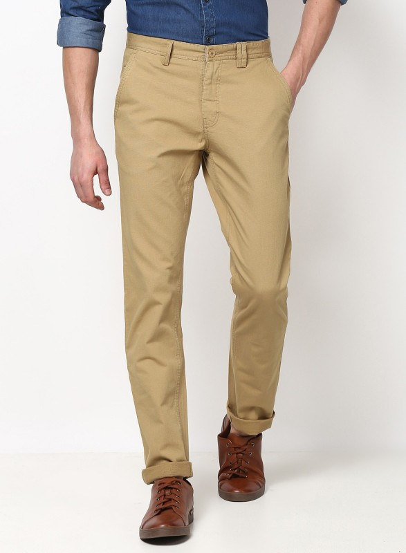 Monte Carlo Slim Fit Men Cream Trousers