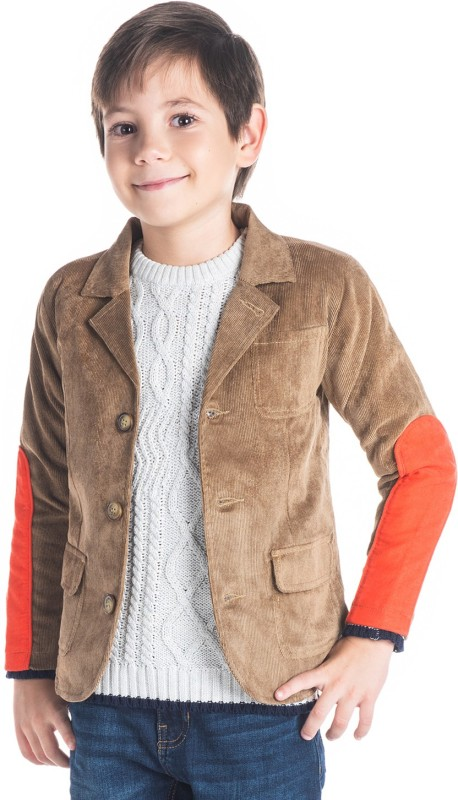 Cherry Crumble California Solid Single Breasted Casual Boys Blazer(Brown)
