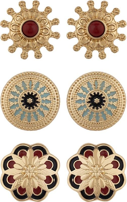 Voylla Set of Three Ethnic Beauty Studs Pearl Alloy Stud Earring