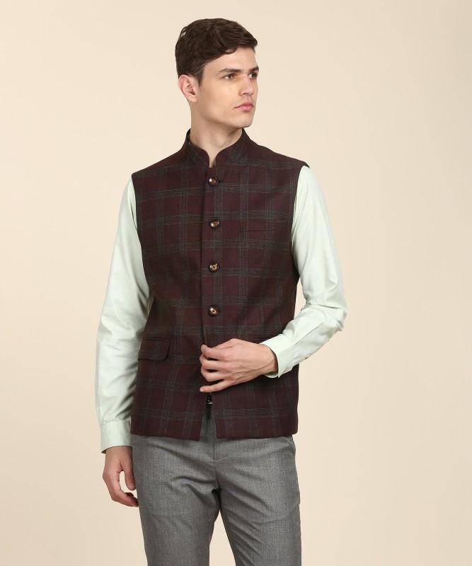 Van Heusen Sleeveless Checkered Men Jacket