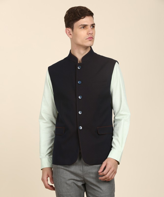 Van Heusen Sleeveless Self Design Men Jacket