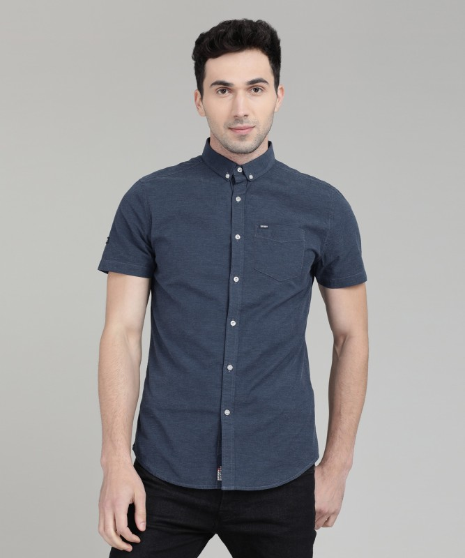 Superdry Men Solid Casual Dark Blue Shirt