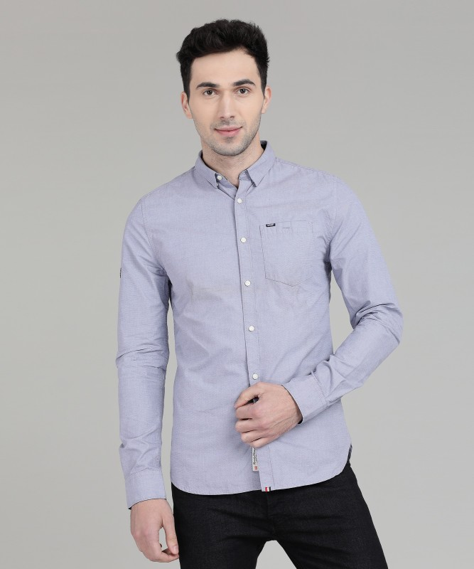 Superdry Men Solid Casual Blue Shirt