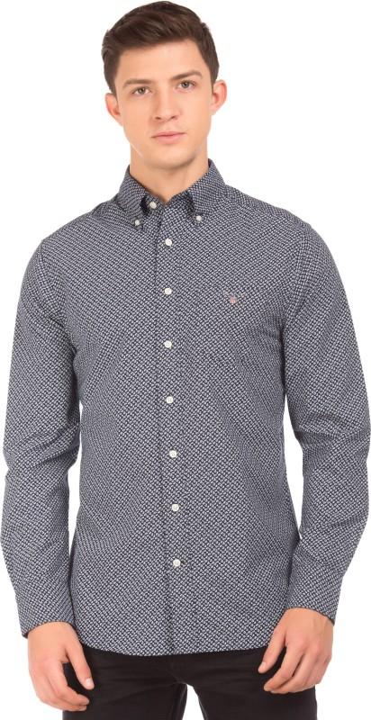 Gant Mens Printed Casual Blue, Grey Shirt