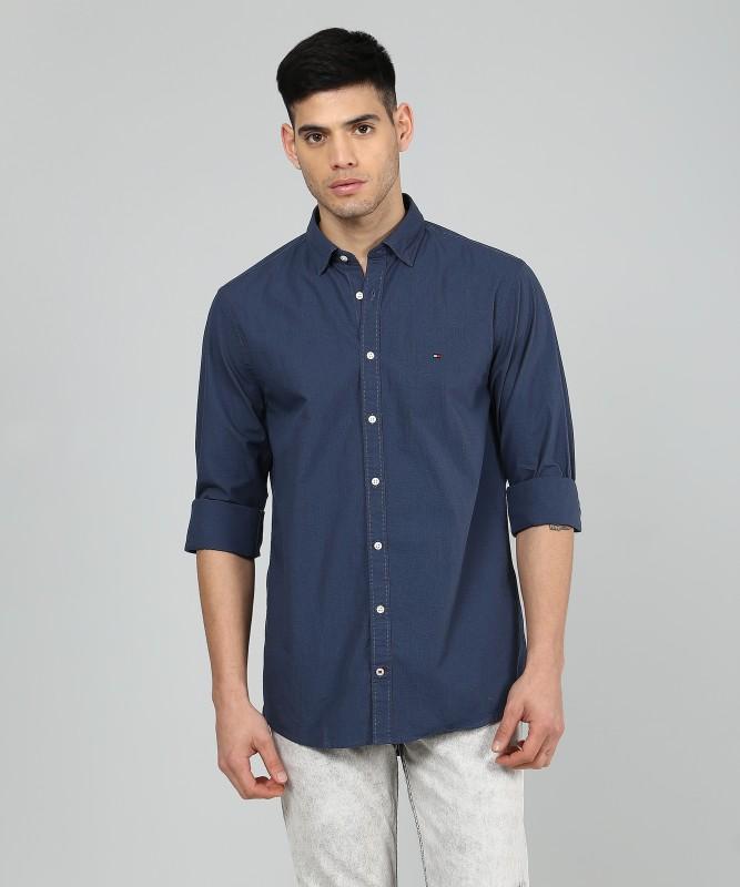 Tommy Hilfiger Men Self Design Casual Dark Blue Shirt