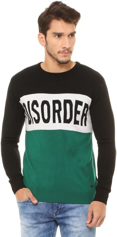 People Self Design Crew Neck Casual Men Black Sweater