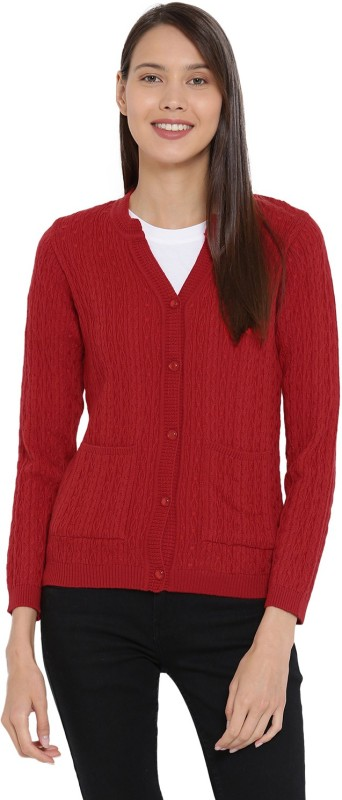 Monte Carlo Printed V-neck Casual Women Red Sweater