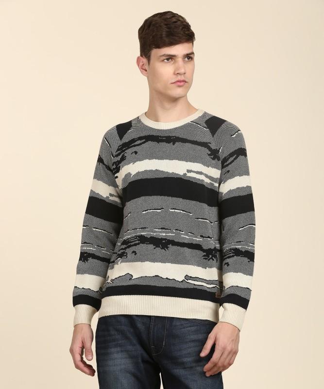 Wrangler Self Design Round Neck Casual Mens Black, Beige Sweater