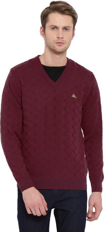 Monte Carlo Printed V-neck Casual Men Maroon Sweater