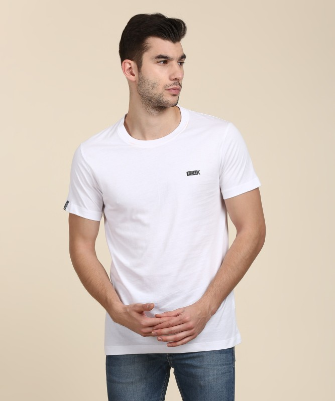 French Connection Solid Men Round Neck White, Black T-Shirt(Pack of 2)