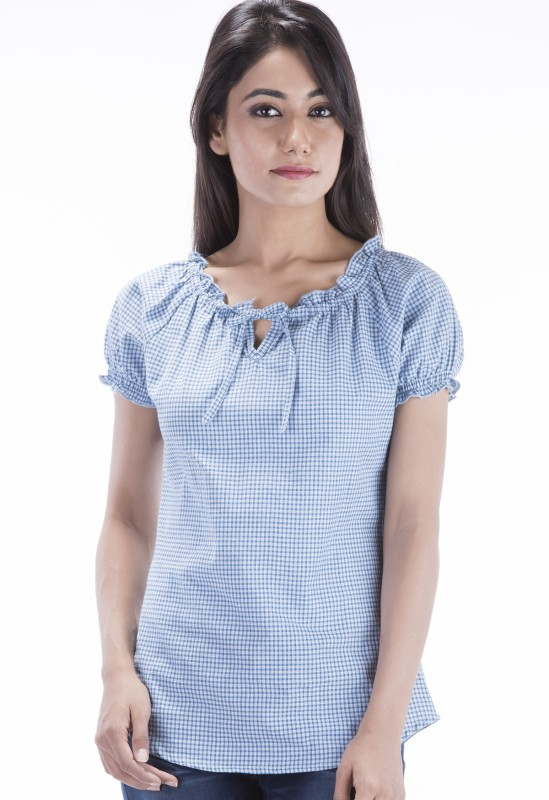 Amadore Casual Short Sleeve Checkered Women Blue Top