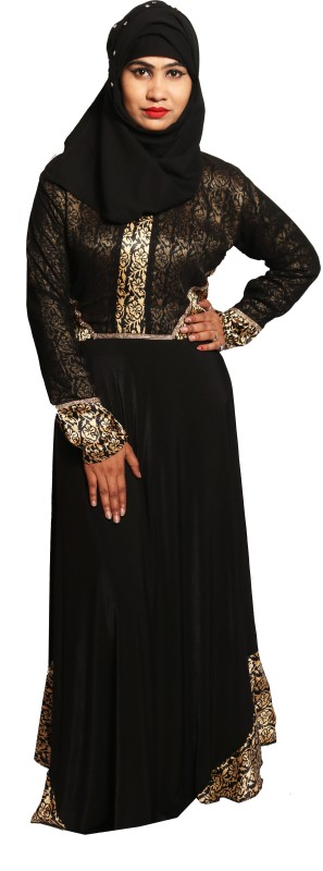 Just Khatoon ABA000164 Georgette and Lycra Soft, Hijab, Designer Burka, Hijaab and Burka/Abaya Self Design Abaya With Hijab(Black, Gold)