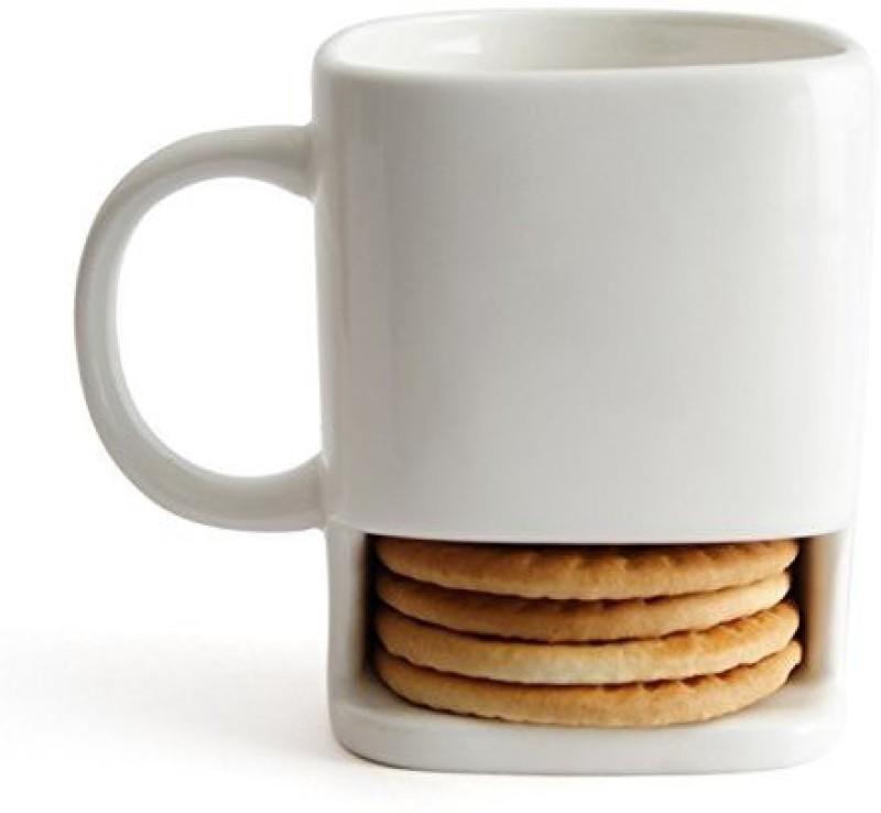 Krauss Ceramic for Coffee/ Tea; with Cookie / Biscuit Holder ( Set Of 2 Cups) ; (Capacity of 1 mug - 225 ML) Ceramic Mug(225 ml, Pack of 2)