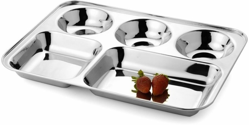 Kanak Stainless Steel 5 In 1 Five Compartment Divided Dinner Plate, Compartment Thali, Compartment Dinner Plate Sectioned Plate(Sectioned Plate)