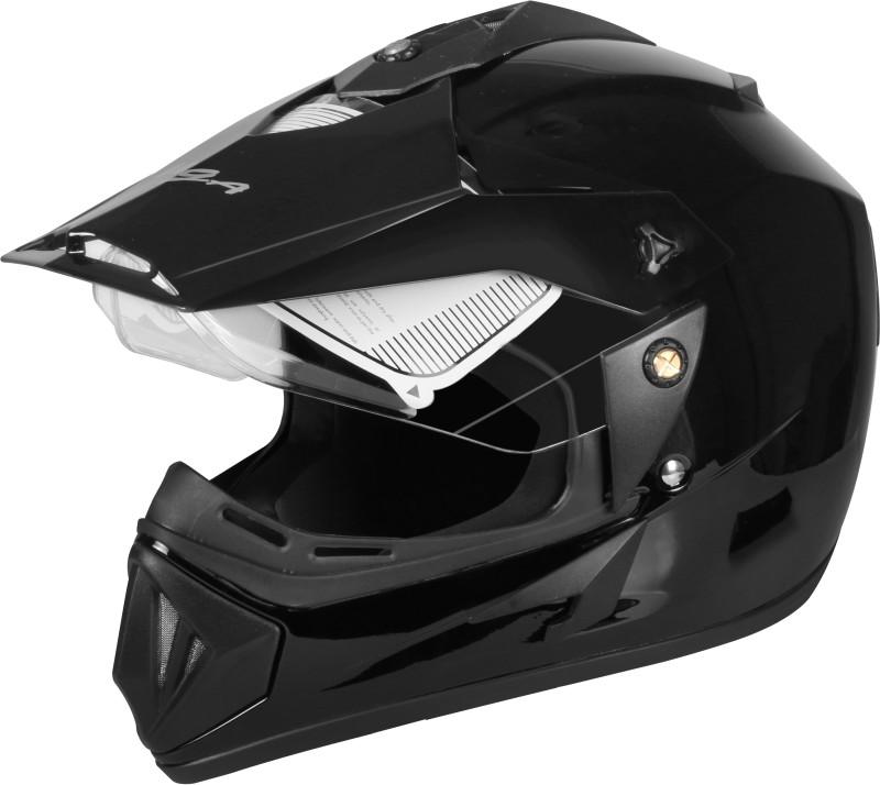 VEGA Off Road (Motocross) Glossy Black Full Face M-size Motorbike Helmet(Black)