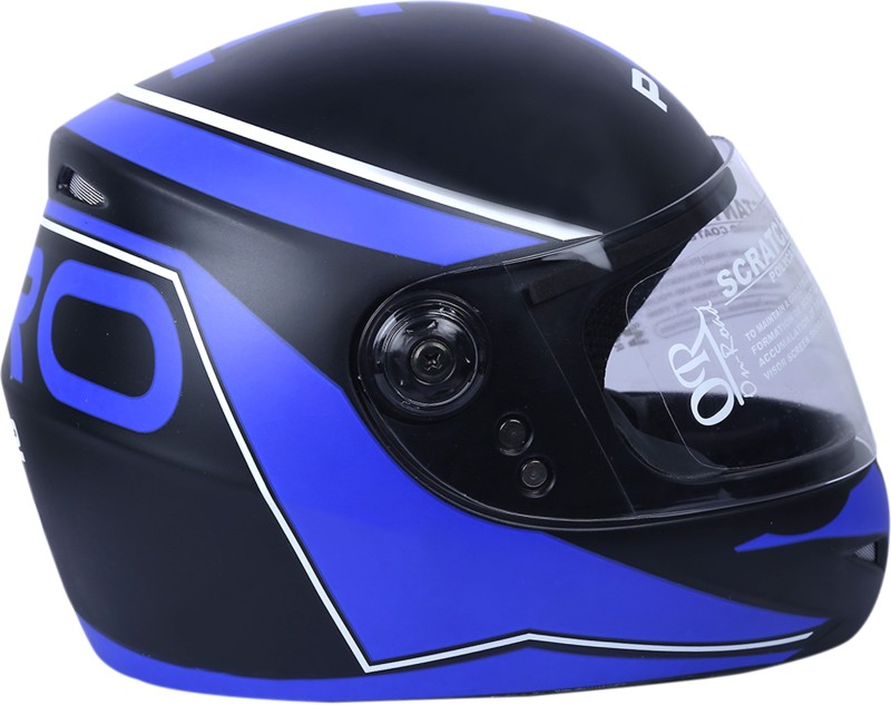 AutoVHPR Presents O2 Black with Blue Designer Full Face I S I Certified Helmet Motorbike Helmet(Blue, Black)