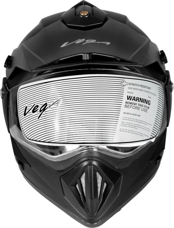 VEGA Off Road (Motocross) Dull Black Full Face M-SIZE Motorbike Helmet(Dull Black)