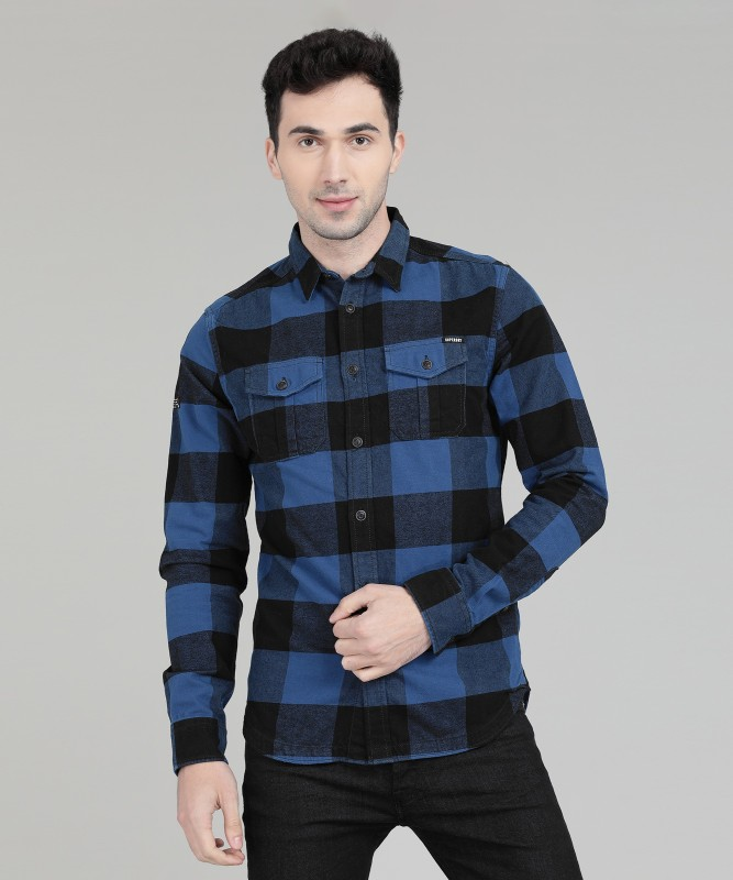 Superdry Men Checkered Casual Blue Shirt