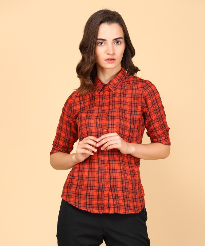 Spykar Womens Checkered Casual Black, Orange Shirt