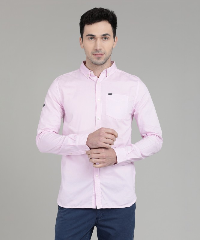 Superdry Men Solid Casual Pink Shirt