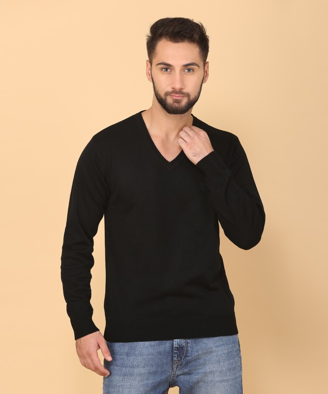Indian Terrain Solid V-neck Casual Mens Black Sweater