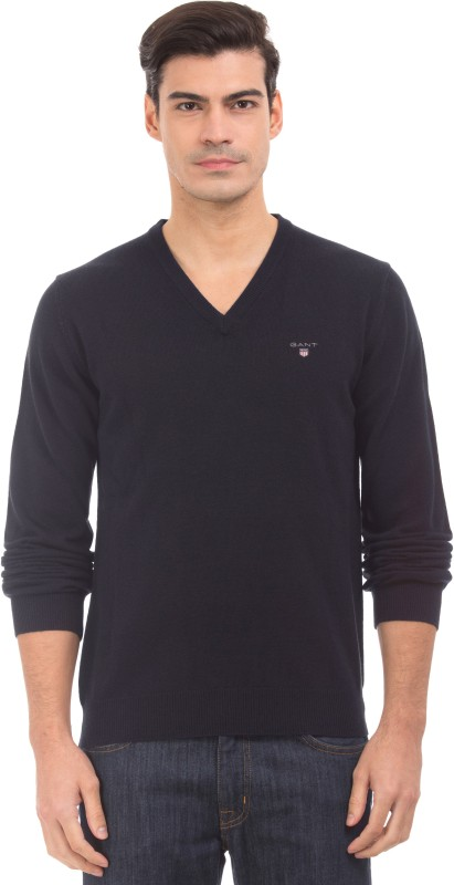 Gant Solid V-neck Casual Mens Blue Sweater