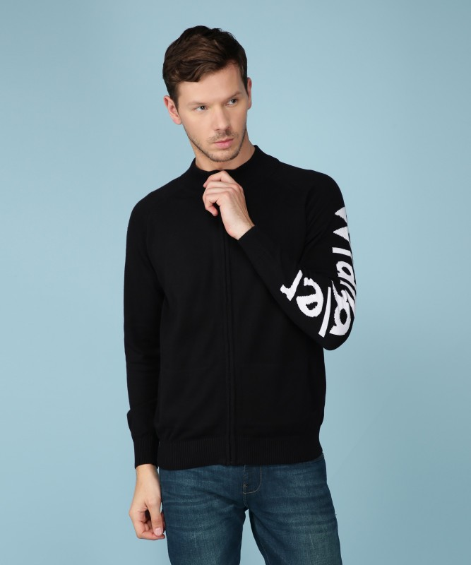 Wrangler Solid Turtle Neck Casual Mens Black Sweater