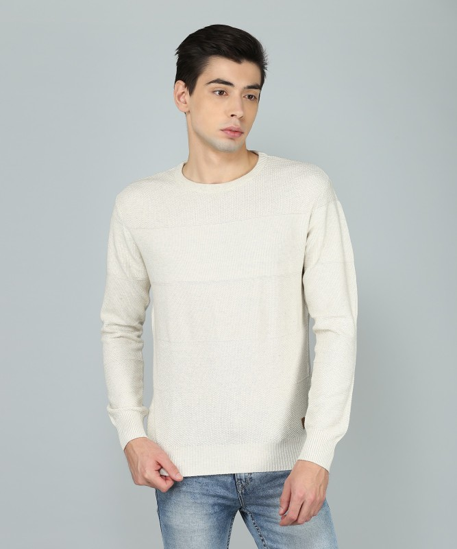 Indian Terrain Self Design Round Neck Casual Mens Beige Sweater