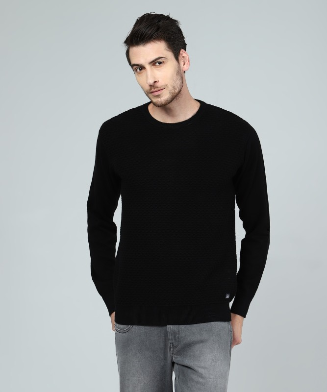 Indian Terrain Self Design Round Neck Casual Mens Black Sweater