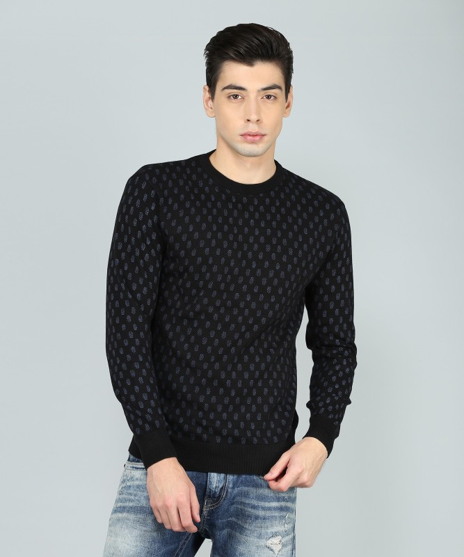 Indian Terrain Printed Round Neck Casual Mens Black Sweater