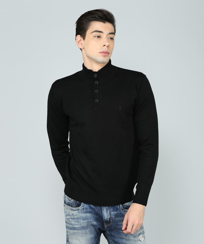 Indian Terrain Solid High Neck Casual Mens Black Sweater