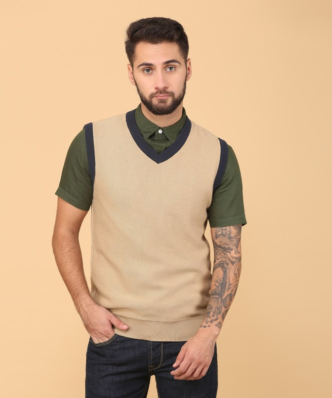 Indian Terrain Self Design V-neck Casual Mens Beige Sweater