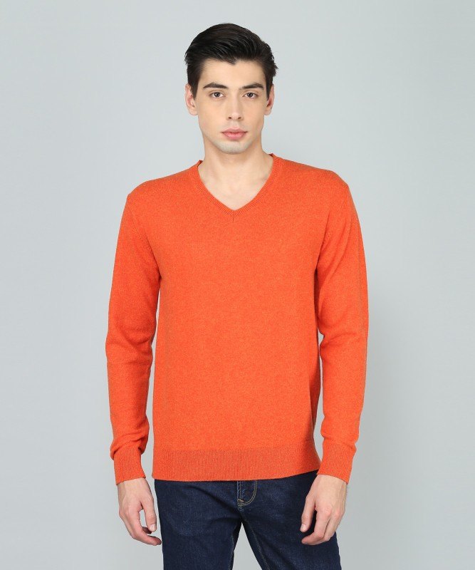 Indian Terrain Solid V-neck Casual Mens Orange Sweater