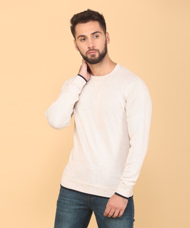 Indian Terrain Solid Round Neck Casual Mens Beige Sweater