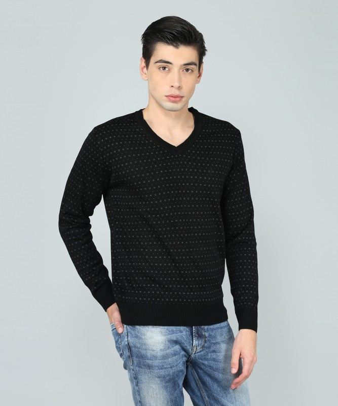 Indian Terrain Printed V-neck Casual Mens Black Sweater