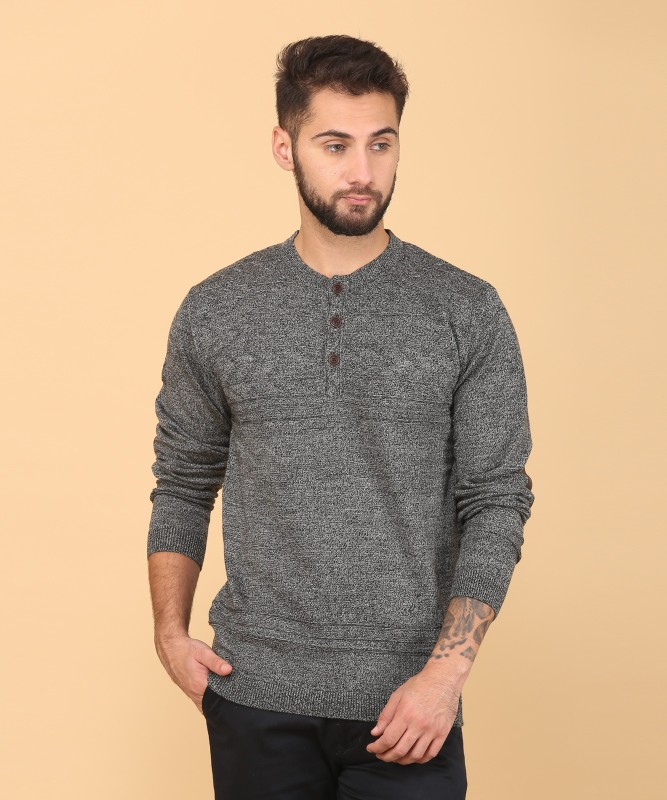 Indian Terrain Self Design Turtle Neck Casual Mens Grey Sweater
