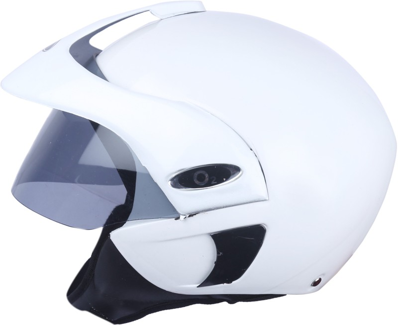 AutoVHPR O2 Pearl White Open Face I S I Certified Helmet with Peak Motorbike Helmet(White)