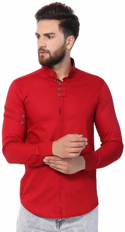 U TURN Men Solid Casual Red Shirt