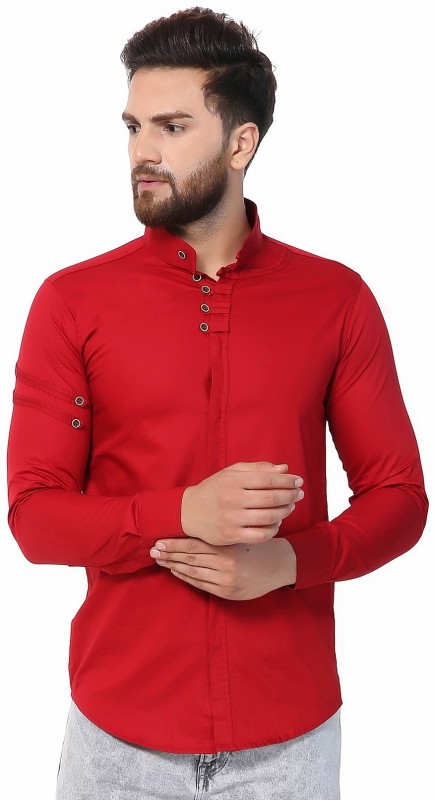 U TURN Men Solid Casual Red Shirt
