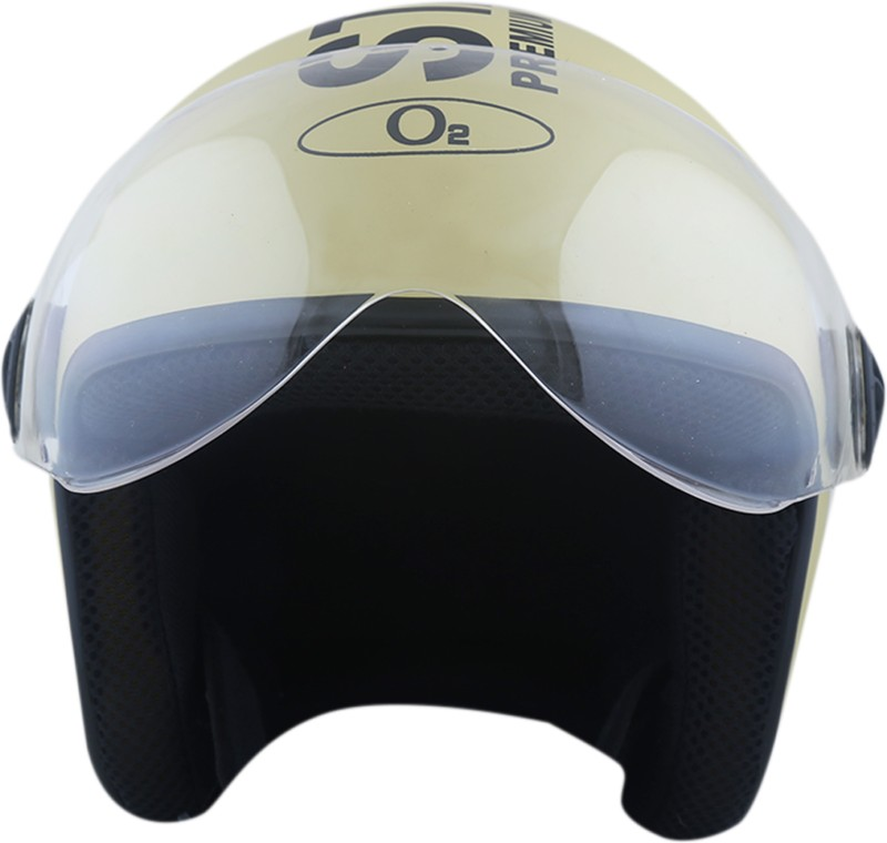 AutoVHPR Present O2 Khaki Brown Pilot Style I S I Certified Helmet with Goggles Style Visor Motorbike Helmet(Brown)