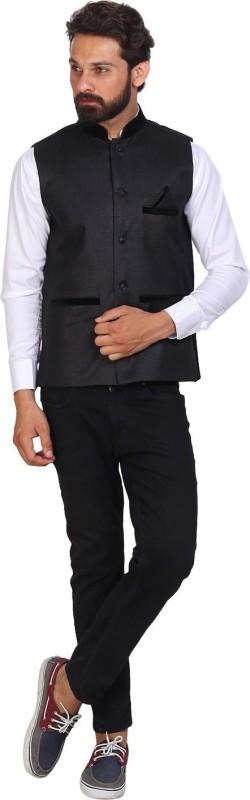 PSK Sleeveless Self Design Men Jacket