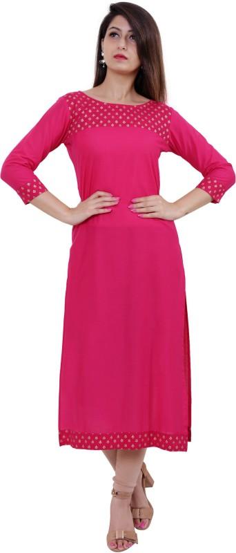 M&D Casual Self Design Women Kurti(Pink)