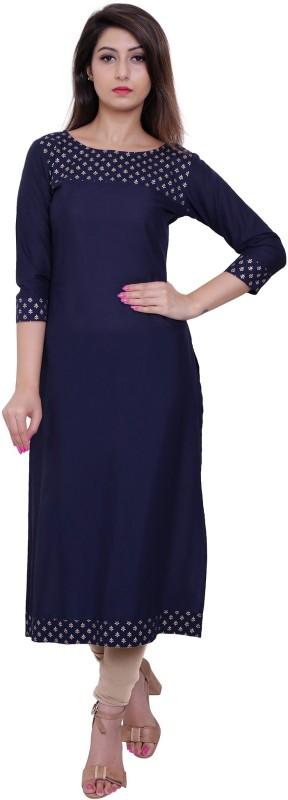 M&D Casual Self Design Women Kurti(Dark Blue)