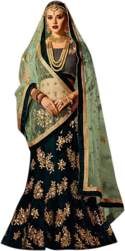 CLEZORA Embroidered Semi Stitched Lehenga, Choli and Dupatta Set(Dark Green, Green)